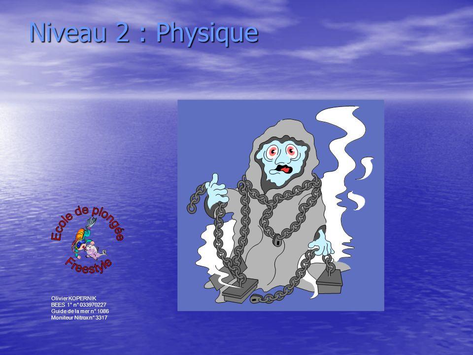Niveau 2 : Physique Ecole de plongée Freestyle Olivier KOPERNIK