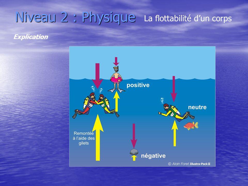 Niveau 2 : Physique La flottabilité d'un corps Explication