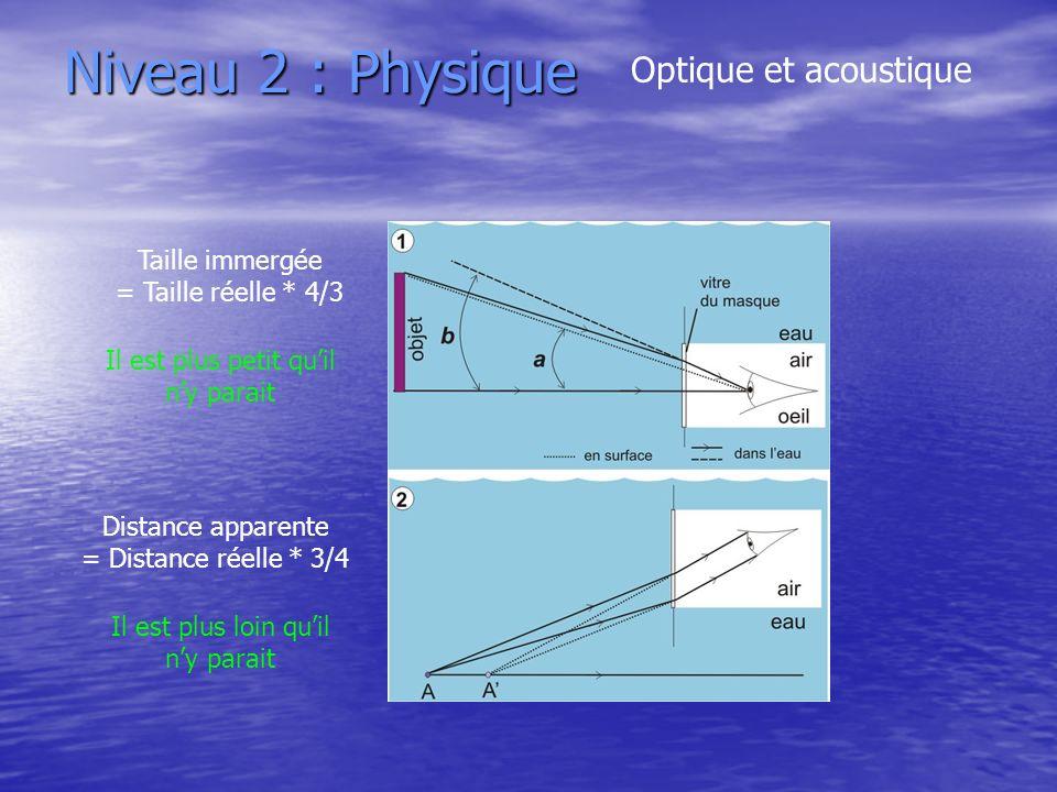 Niveau 2 : Physique Optique et acoustique Taille immergée