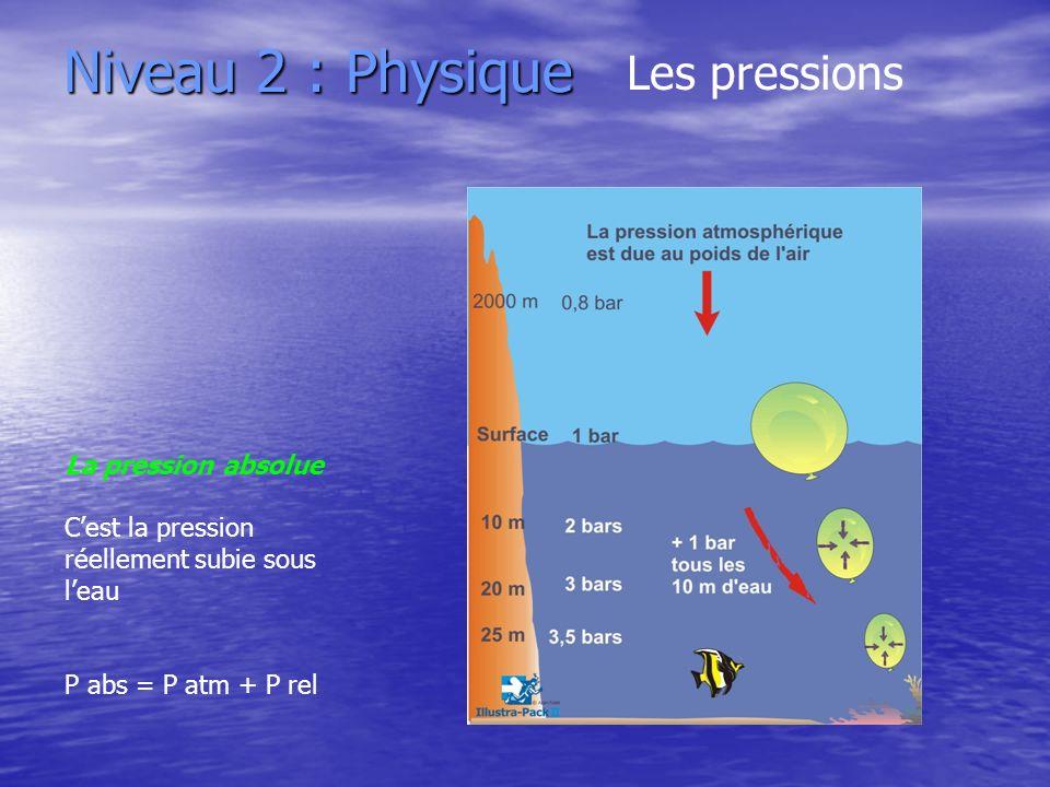 Niveau 2 : Physique Les pressions La pression absolue