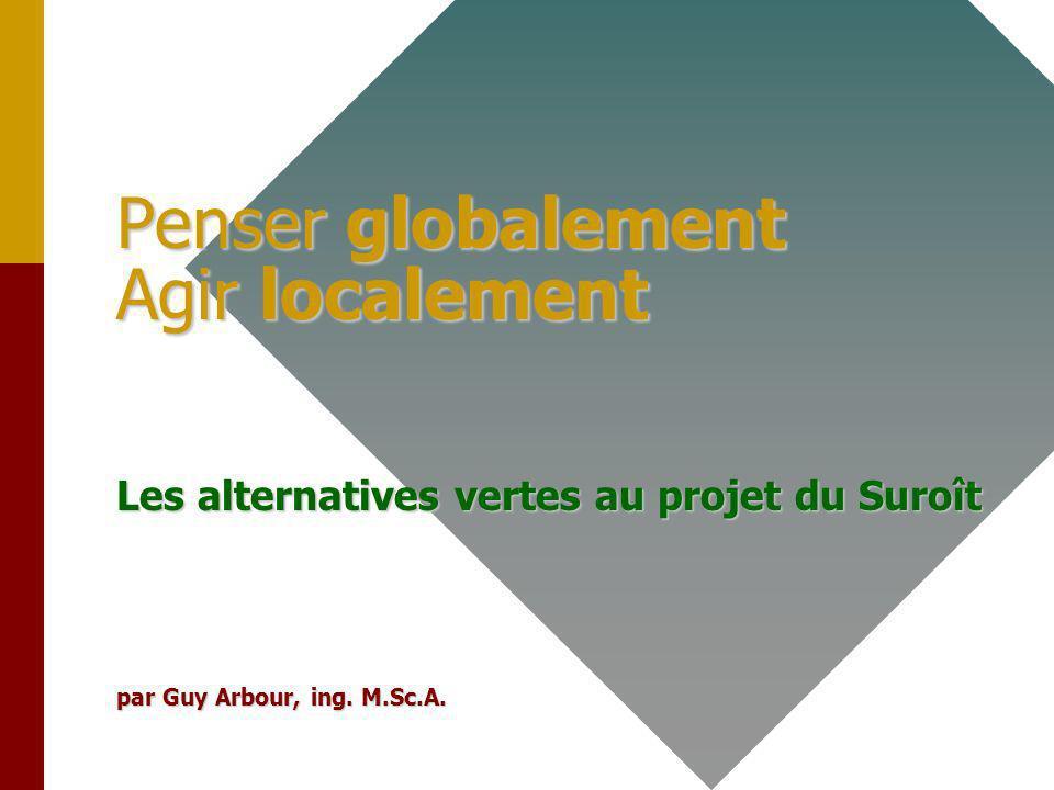 Penser globalement Agir localement Les alternatives vertes au projet du Suroît par Guy Arbour, ing.