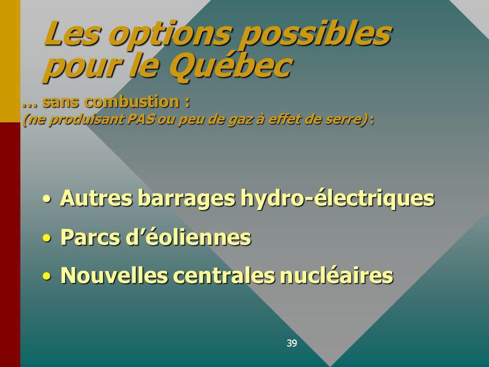 Les options possibles pour le Québec