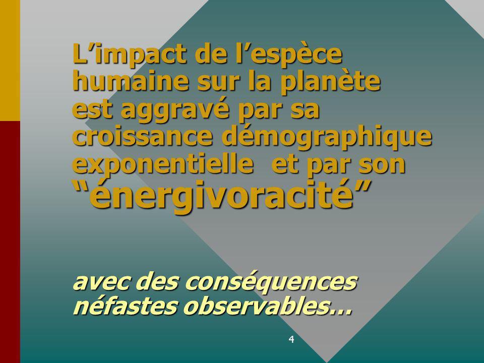 L'impact de l'espèce humaine sur la planète est aggravé par sa croissance démographique exponentielle et par son énergivoracité avec des conséquences néfastes observables…