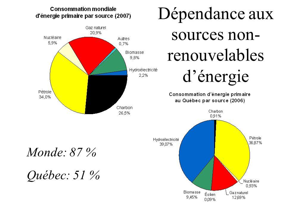 Dépendance aux sources non-renouvelables d'énergie