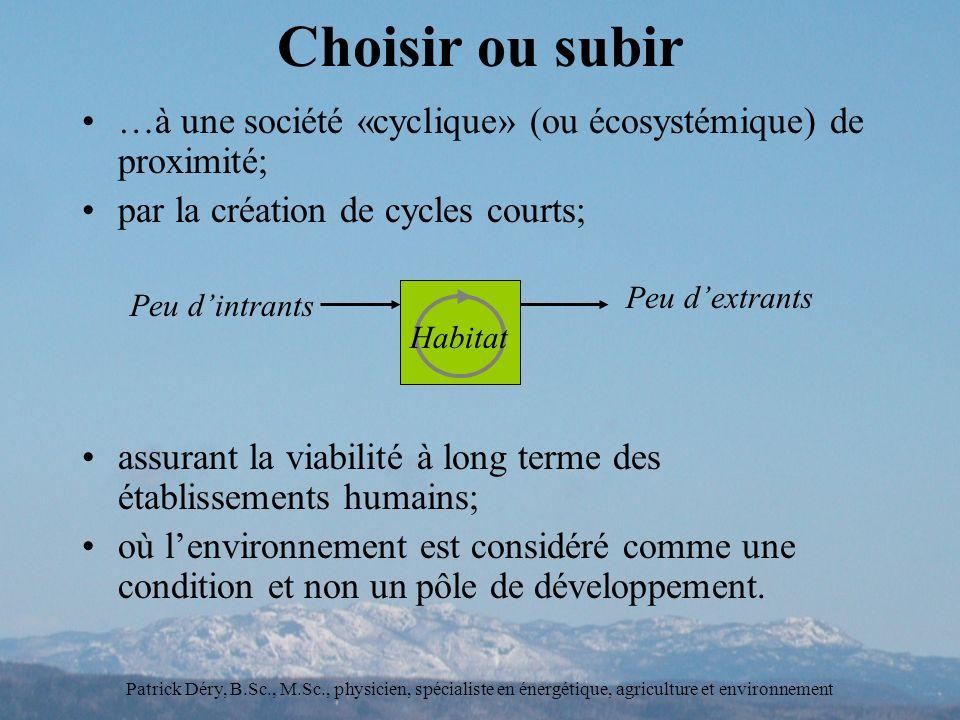 Choisir ou subir …à une société «cyclique» (ou écosystémique) de proximité; par la création de cycles courts;