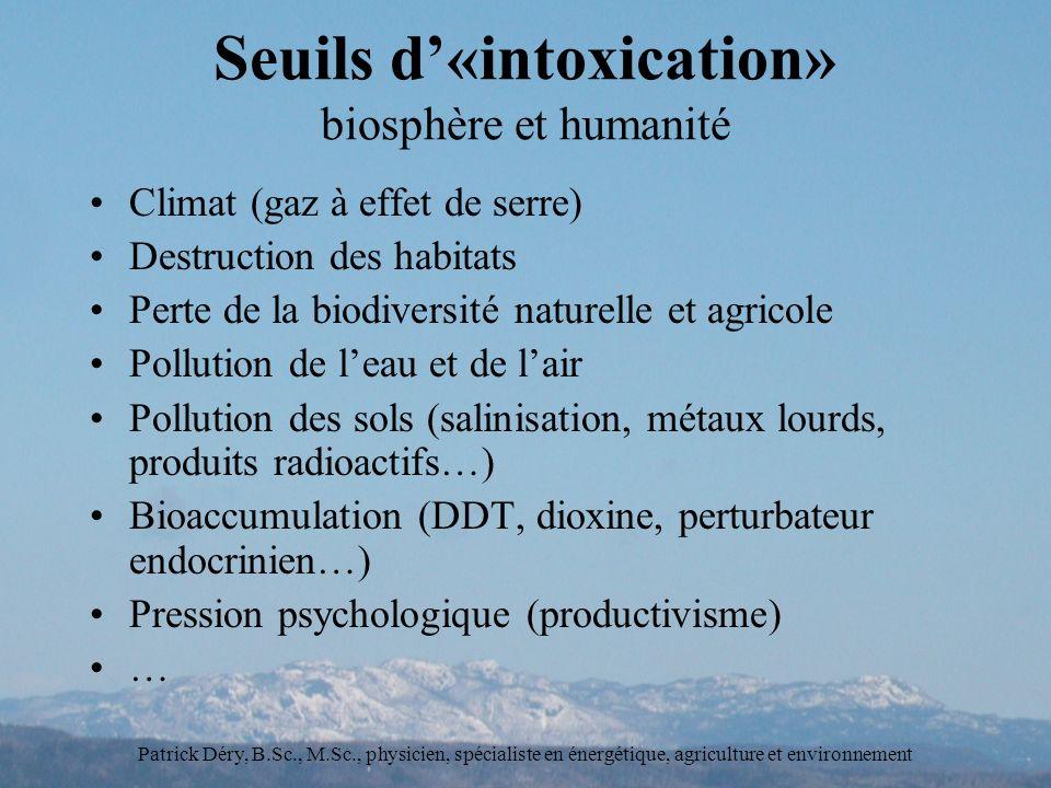 Seuils d'«intoxication» biosphère et humanité