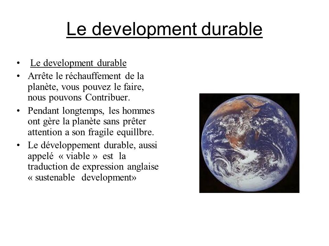 Le development durable