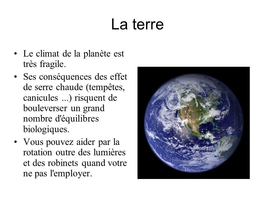La terre Le climat de la planète est très fragile.