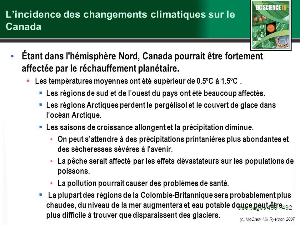 L'incidence des changements climatiques sur le Canada