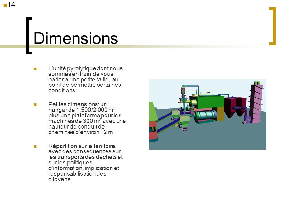14 Dimensions. L'unité pyrolytique dont nous sommes en train de vous parler a une petite taille, au point de permettre certaines conditions: