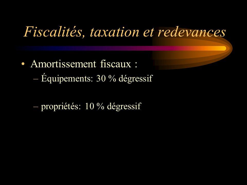 Fiscalités, taxation et redevances