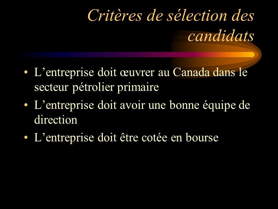 Critères de sélection des candidats