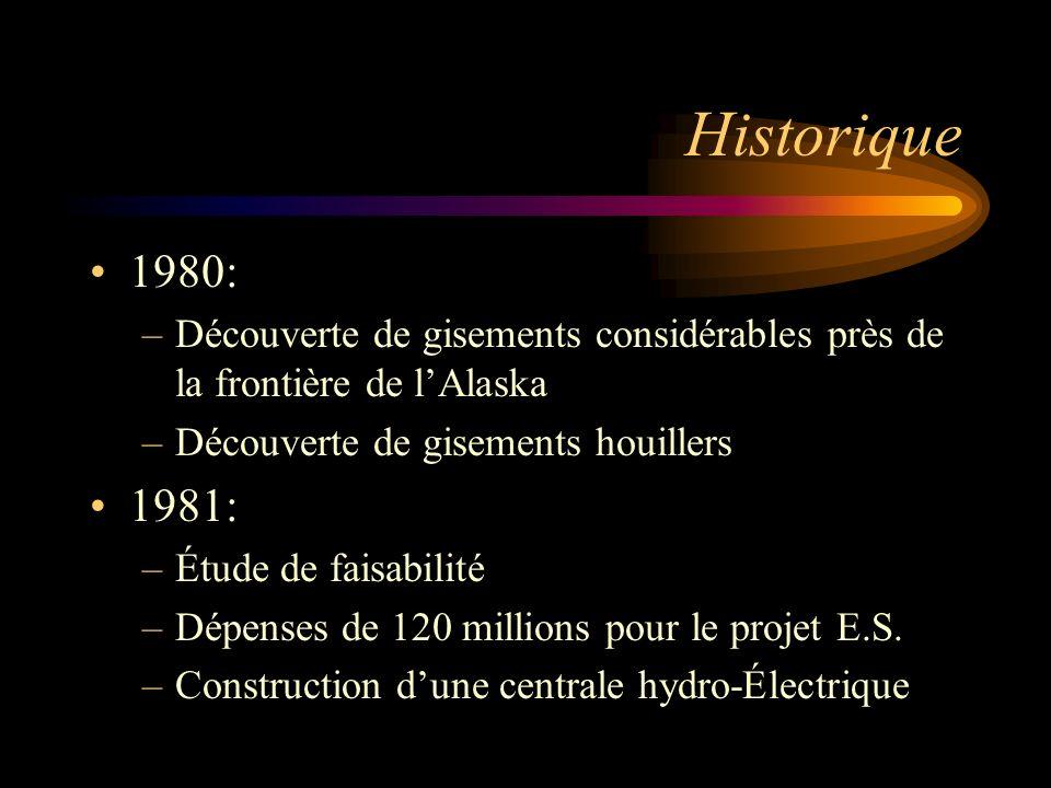 Historique 1980: Découverte de gisements considérables près de la frontière de l'Alaska. Découverte de gisements houillers.