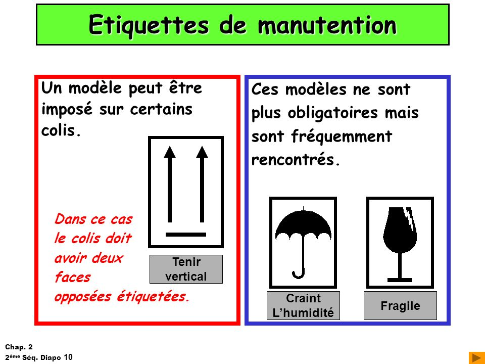 Etiquettes de manutention