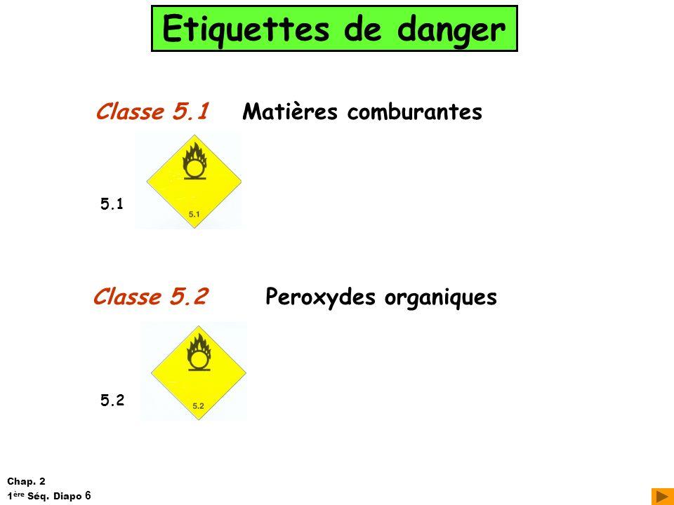 Etiquettes de danger Classe 5.1 Matières comburantes Classe 5.2