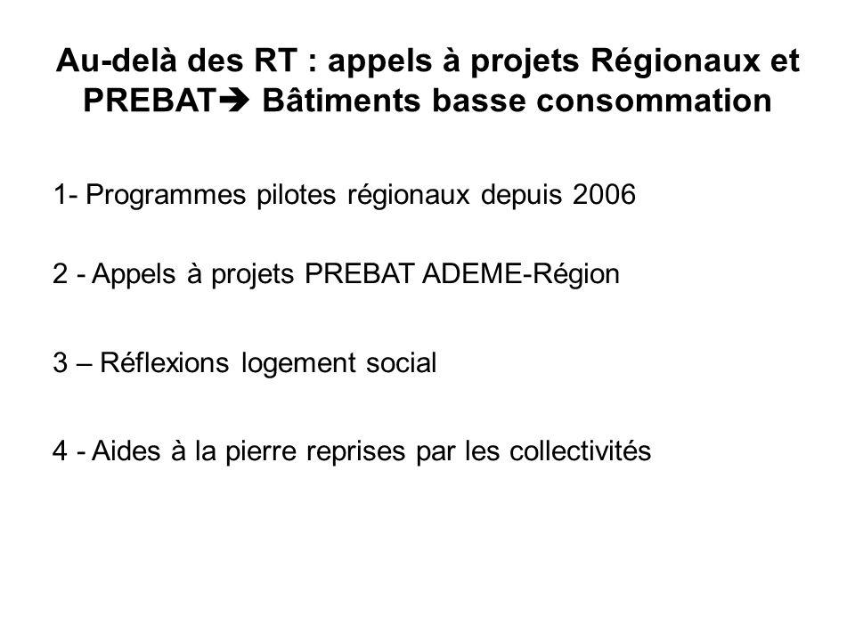Au-delà des RT : appels à projets Régionaux et PREBAT Bâtiments basse consommation