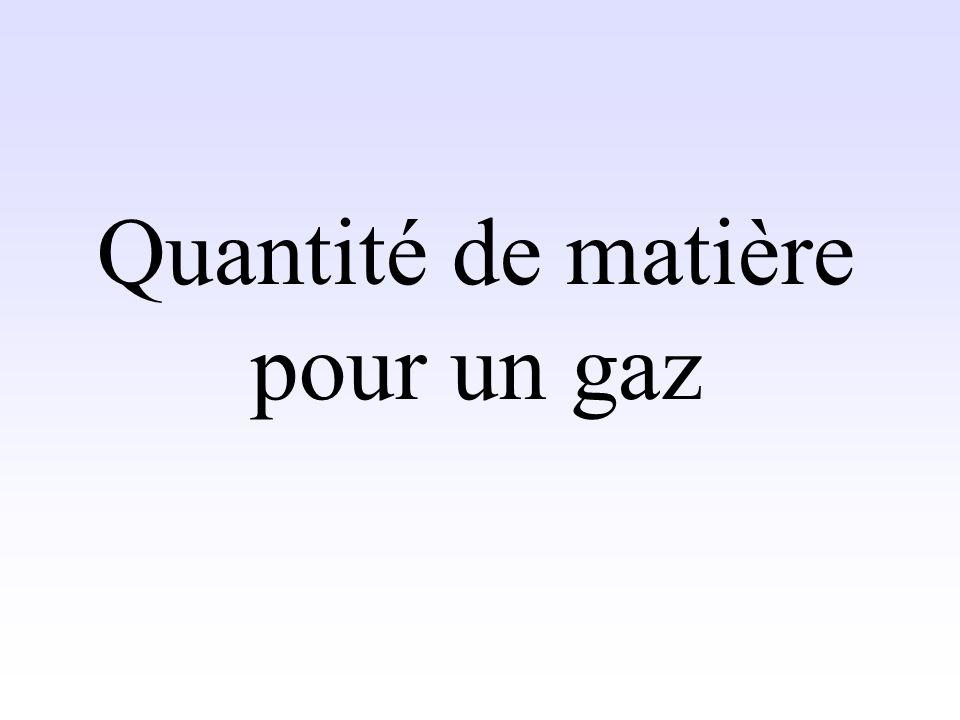 Quantité de matière pour un gaz