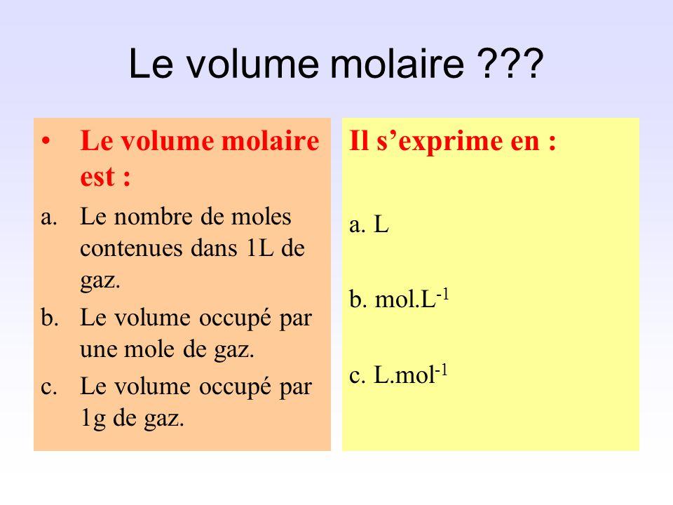 Le volume molaire Le volume molaire est : Il s'exprime en :
