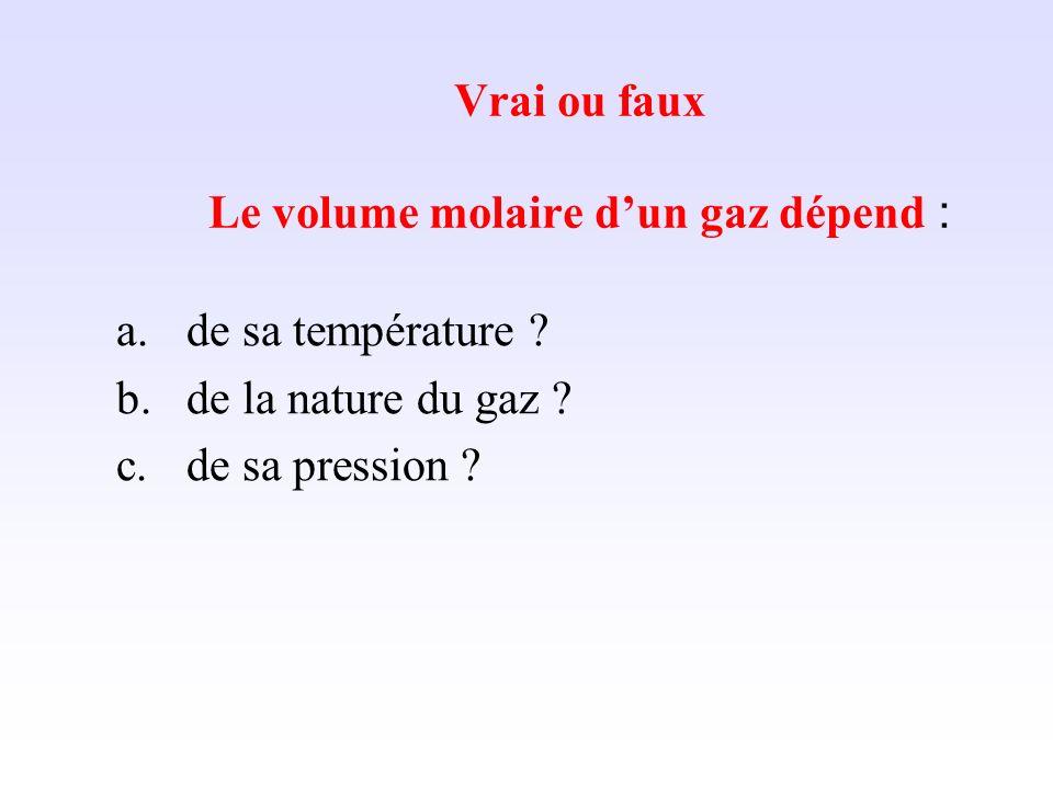 Vrai ou faux Le volume molaire d'un gaz dépend :