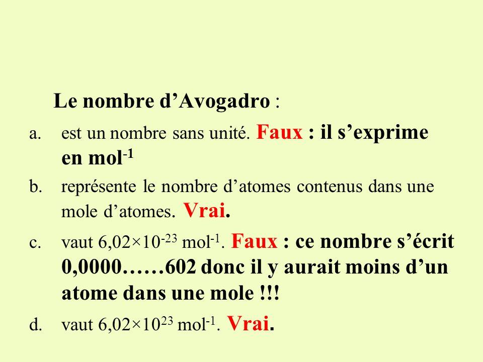 Le nombre d'Avogadro : est un nombre sans unité. Faux : il s'exprime en mol-1. représente le nombre d'atomes contenus dans une mole d'atomes. Vrai.