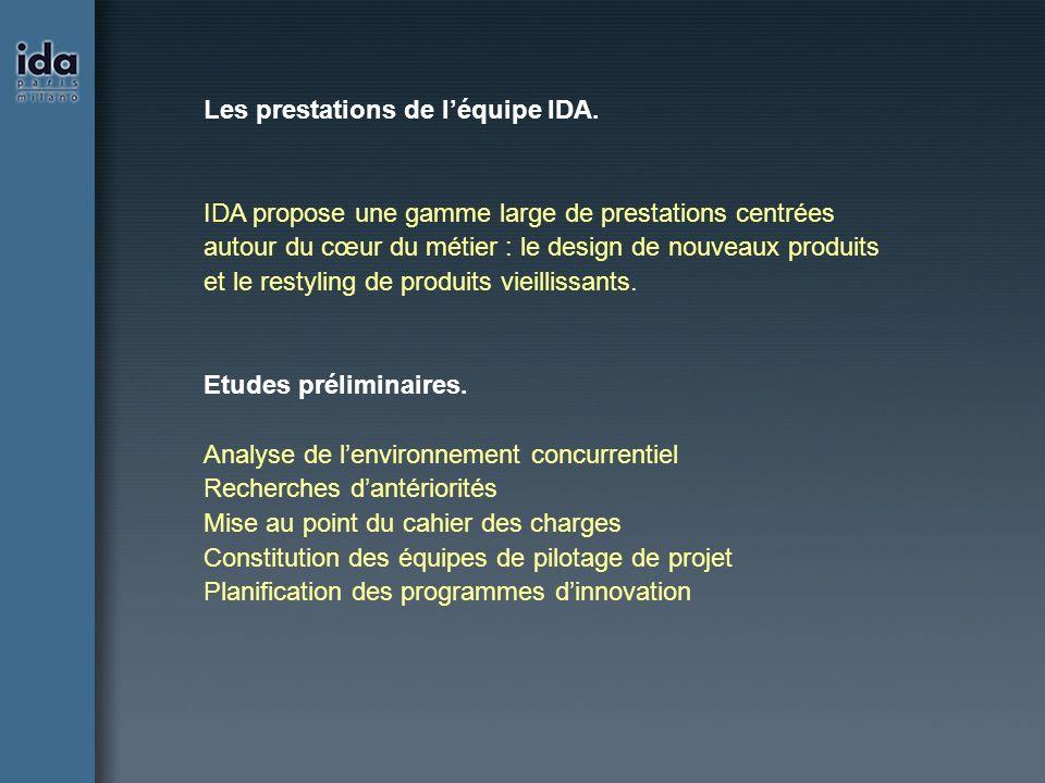 Les prestations de l'équipe IDA.