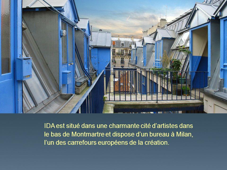 IDA est situé dans une charmante cité d'artistes dans le bas de Montmartre et dispose d'un bureau à Milan, l'un des carrefours européens de la création.