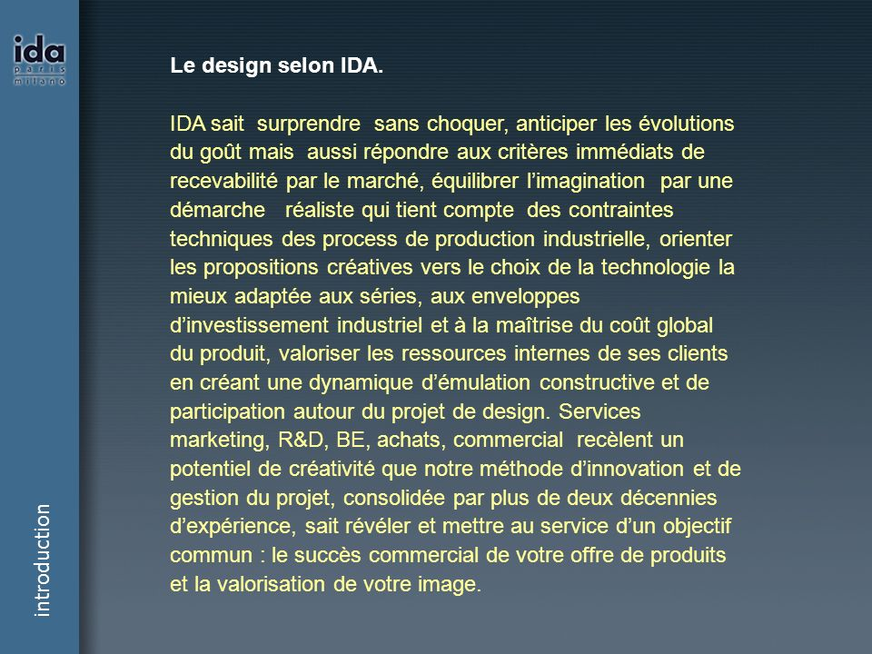 Le design selon IDA.