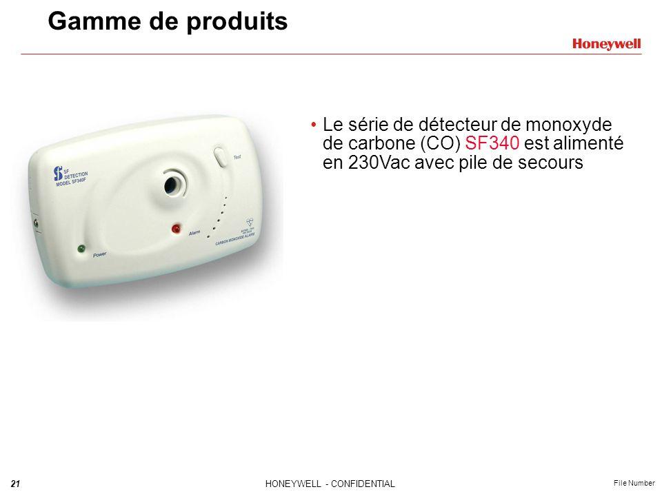 Gamme de produits Le série de détecteur de monoxyde de carbone (CO) SF340 est alimenté en 230Vac avec pile de secours.
