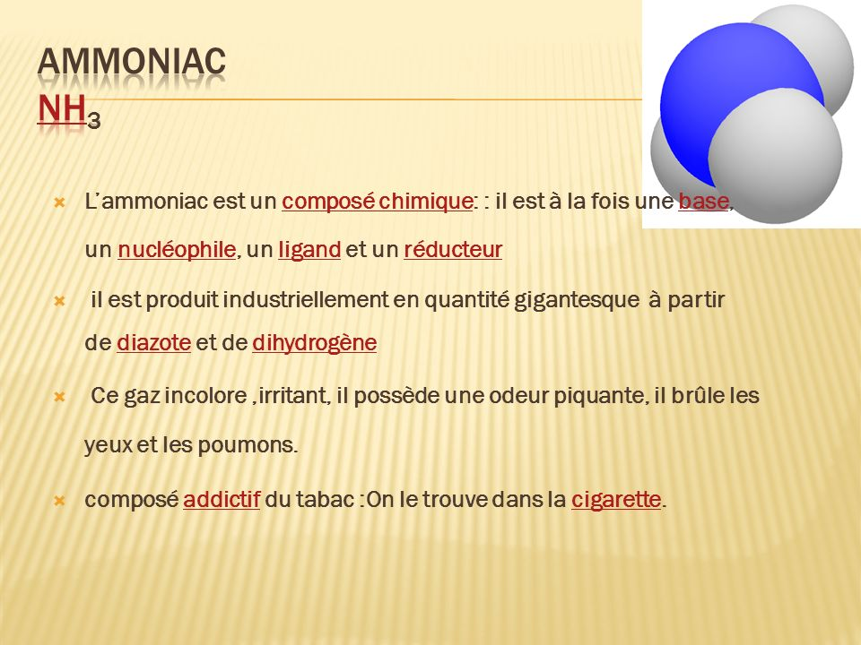 Ammoniac NH3 L'ammoniac est un composé chimique: : il est à la fois une base, un nucléophile, un ligand et un réducteur.