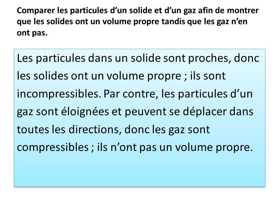 Comparer les particules d'un solide et d'un gaz afin de montrer que les solides ont un volume propre tandis que les gaz n'en ont pas.