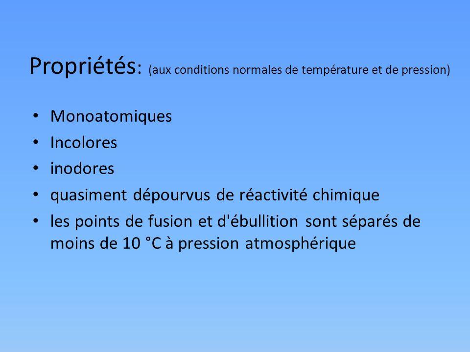 Propriétés: (aux conditions normales de température et de pression)