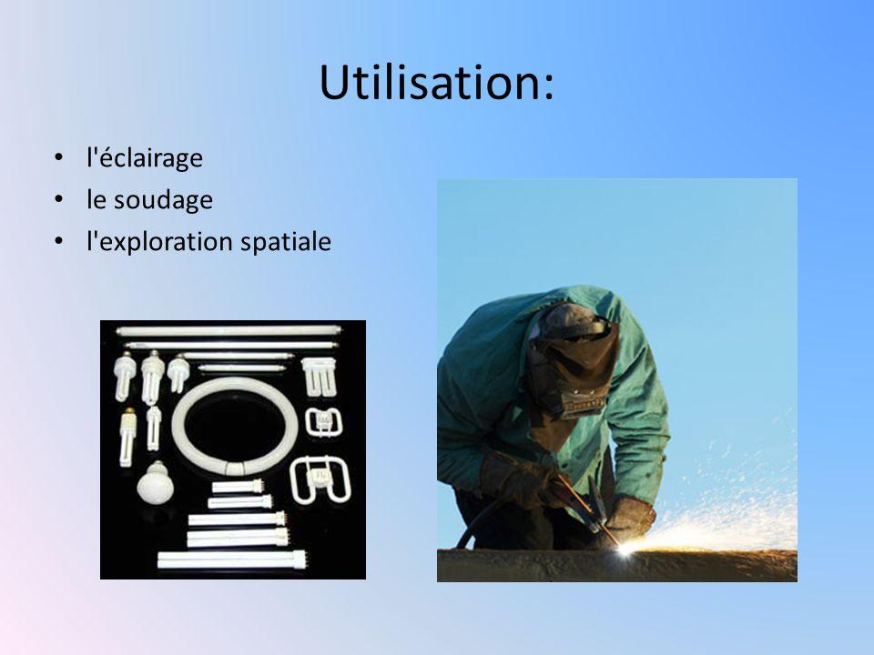 Utilisation: l éclairage le soudage l exploration spatiale