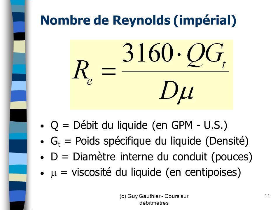 Nombre de Reynolds (impérial)