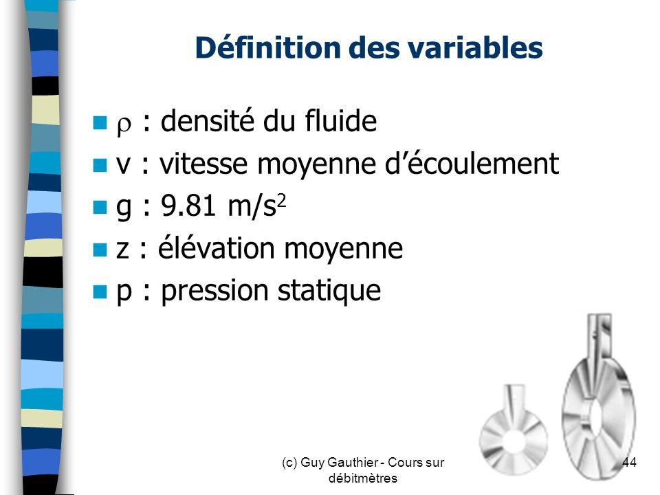 Définition des variables