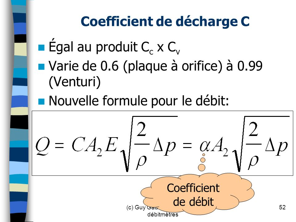 Coefficient de décharge C