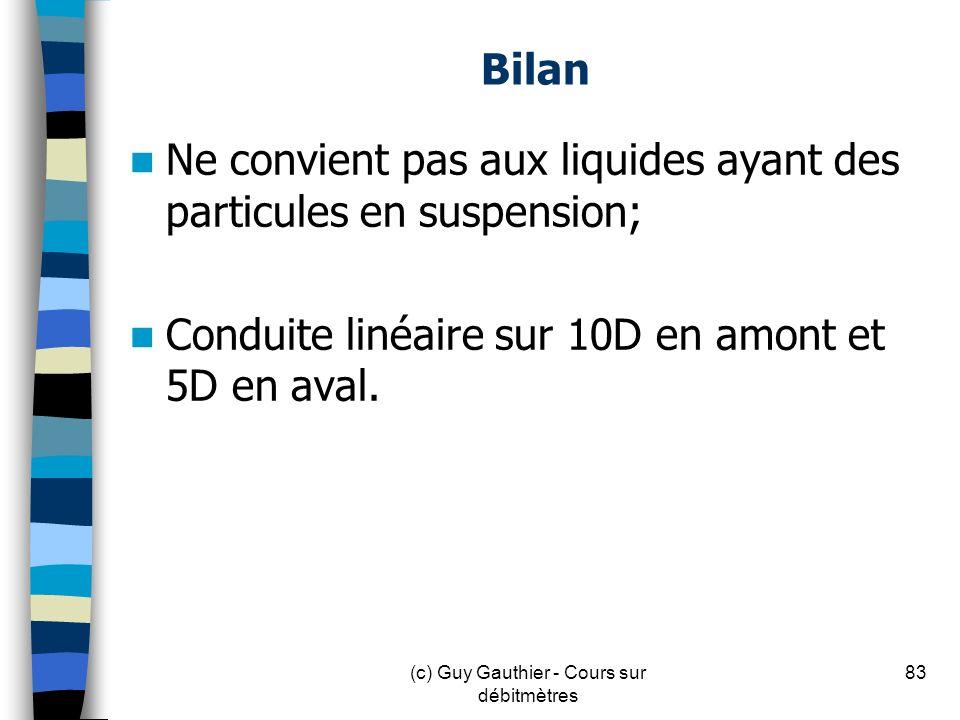 (c) Guy Gauthier - Cours sur débitmètres