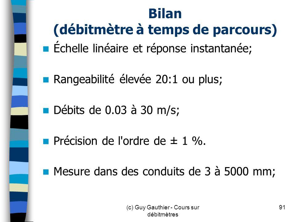 Bilan (débitmètre à temps de parcours)