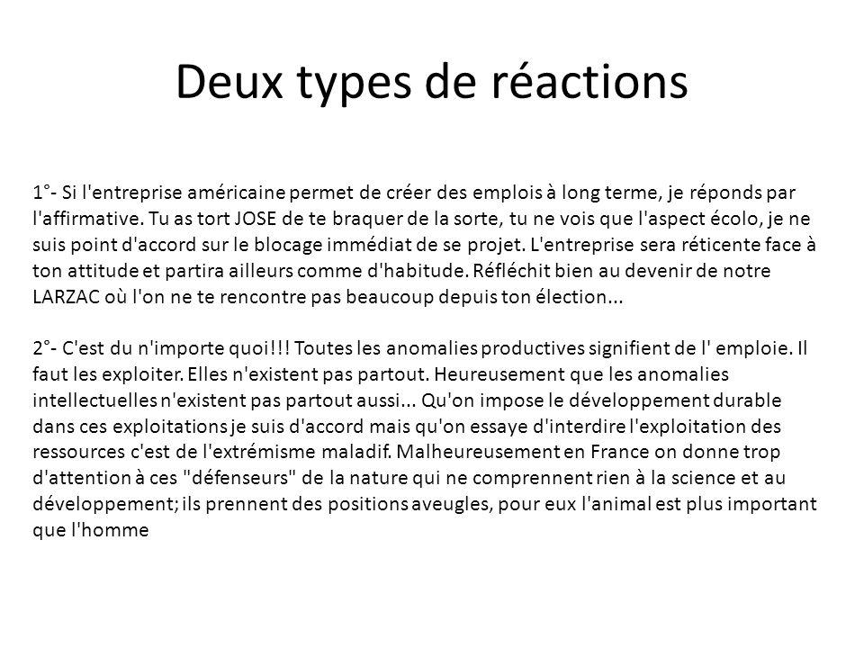 Deux types de réactions