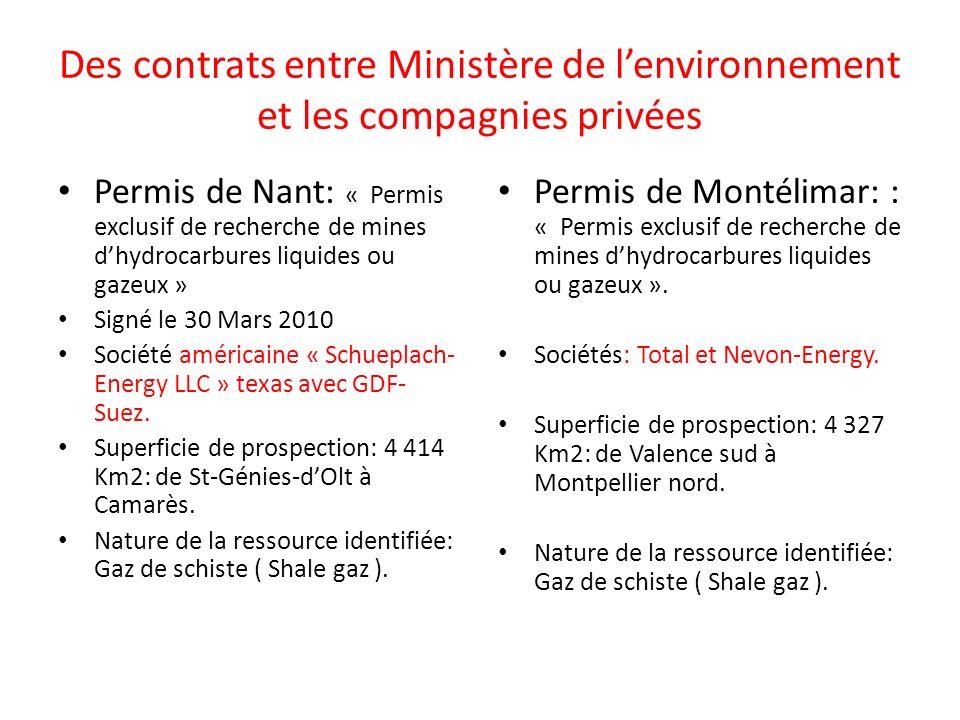 Des contrats entre Ministère de l'environnement et les compagnies privées