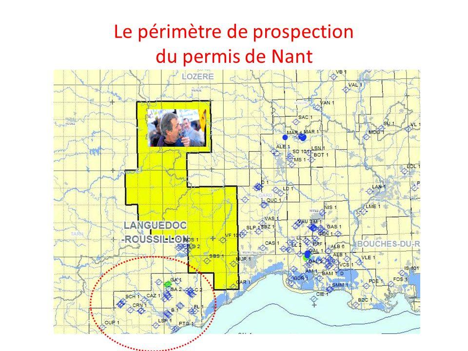 Le périmètre de prospection du permis de Nant