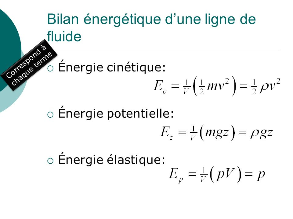 Bilan énergétique d'une ligne de fluide