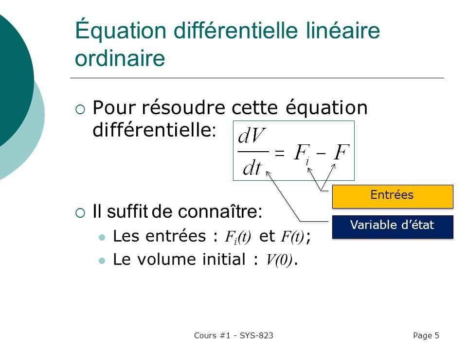 Équation différentielle linéaire ordinaire