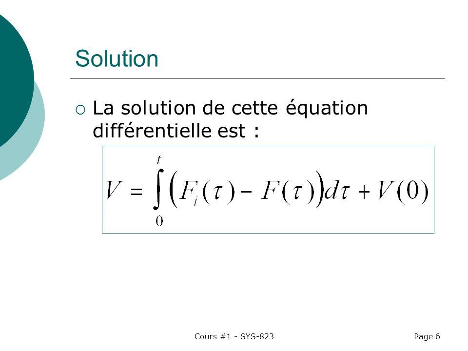 Solution La solution de cette équation différentielle est :