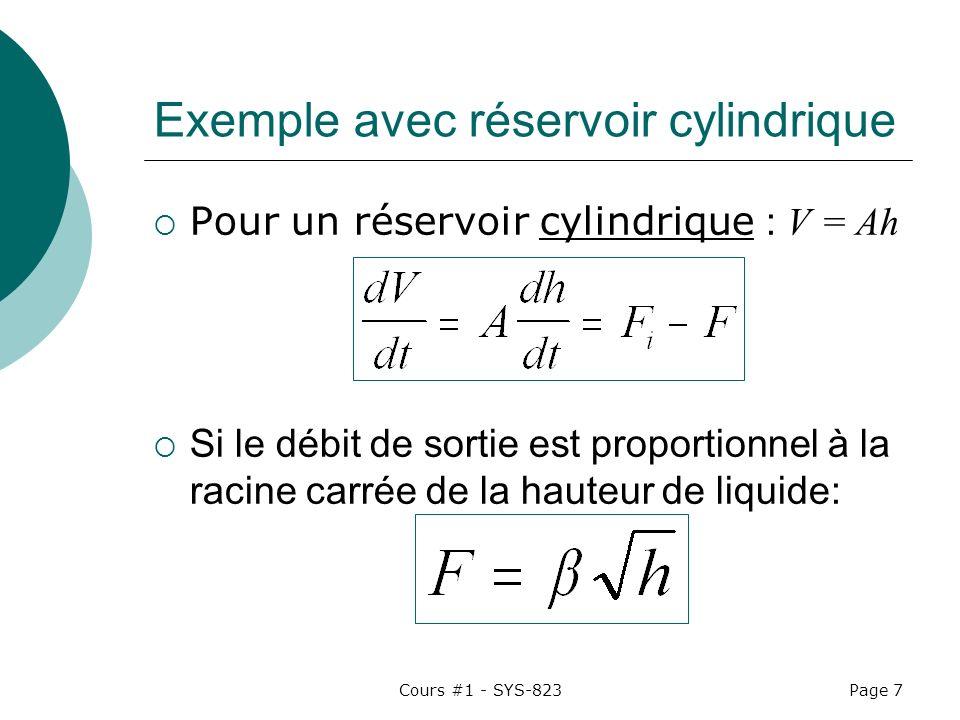 Exemple avec réservoir cylindrique