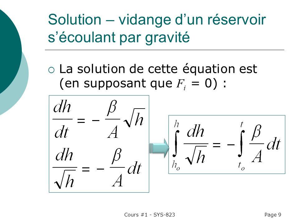 Solution – vidange d'un réservoir s'écoulant par gravité