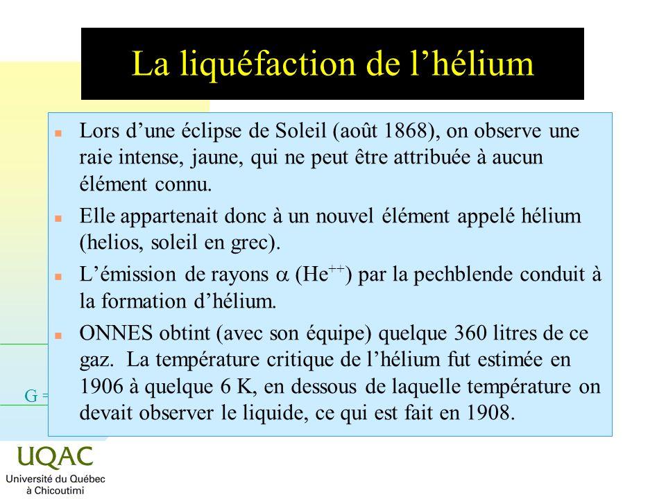 La liquéfaction de l'hélium