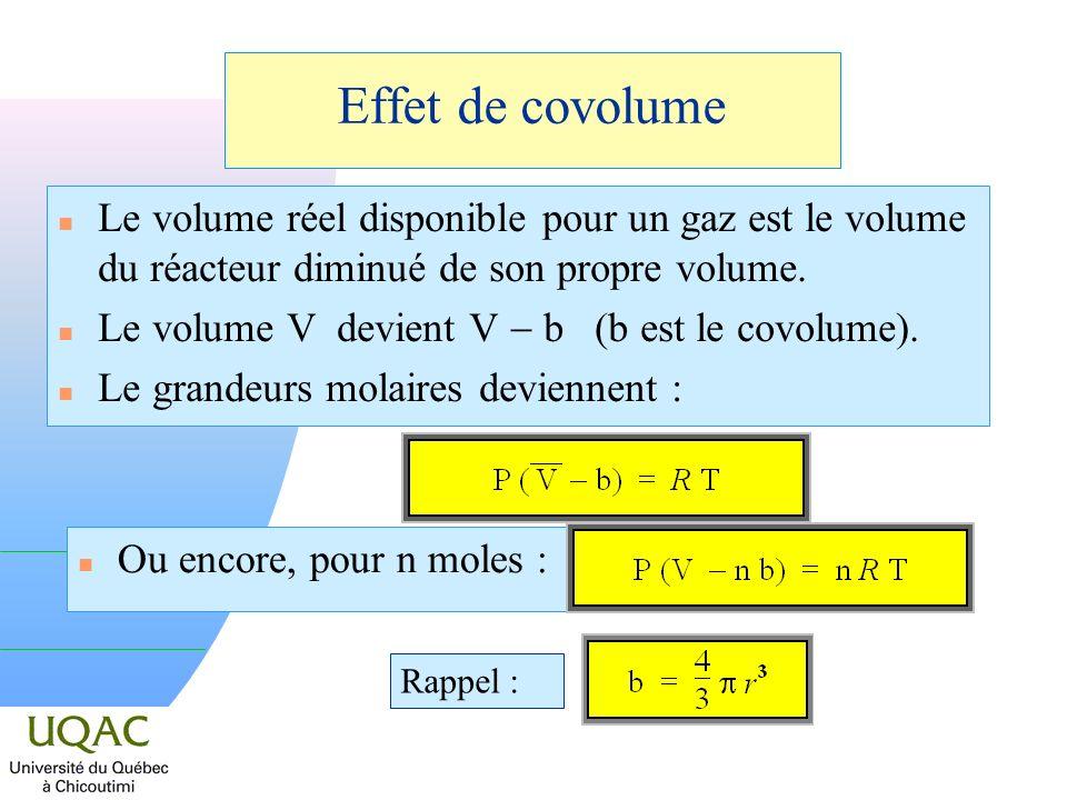 Effet de covolume Le volume réel disponible pour un gaz est le volume du réacteur diminué de son propre volume.