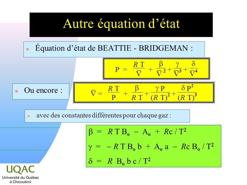 Autre équation d'état Équation d'état de BEATTIE - BRIDGEMAN : ¯