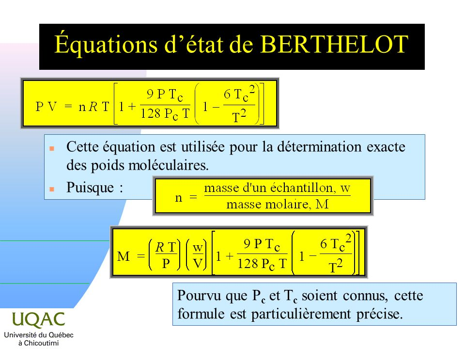 Équations d'état de BERTHELOT
