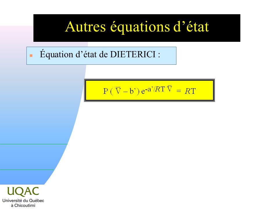 Autres équations d'état